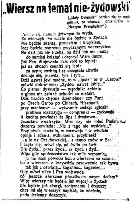 Wiersz Na Temat Nieżydowski Władysław Szlengel
