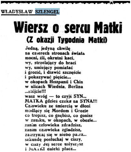 Wiersz O Sercu Matki Władysław Szlengel